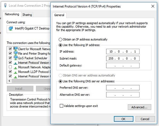 Technical drawing:  Technical drawing:  Setting the IP address of the PC 5
