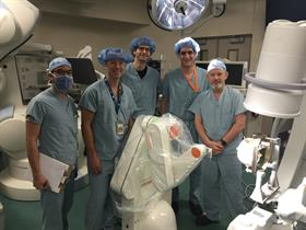 David Steven and his team at London Health Sciences Centre, Ontario, with the neuromate stereotactic robot