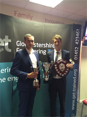 Oliver Rodway and Ed Benjamin with their engineering apprenticeship awards (left to right: Ed Benjamin and Oliver Rodway)