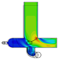 CFD analysis example highlighting areas of disturbed flow