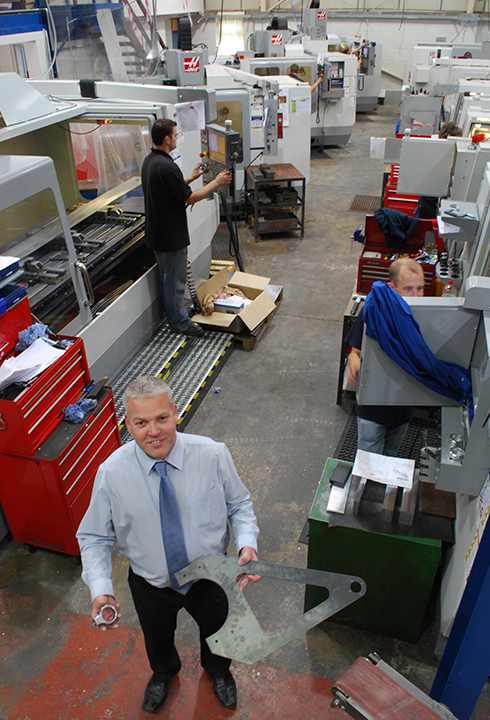Jerry Elsy, Sewtec's Production Manager, with components produced on the HAAS vertical machining centres