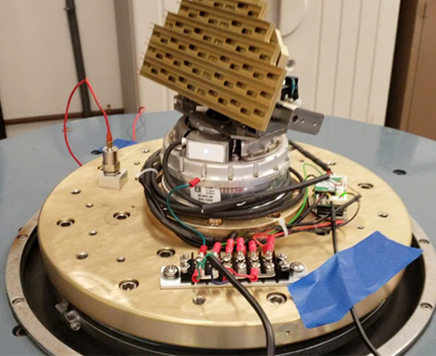 PAS antenna gimbal assembly on a shock and vibration test stand