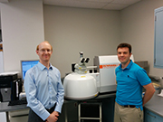Drs Kyle Reisner and Brady King from Wayne State University with their Renishaw inVia confocal Raman microscope.