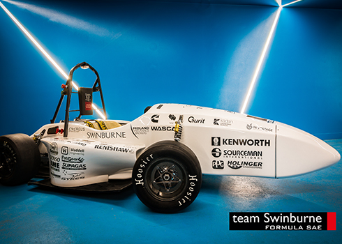 Team Swinburne Formula SAE car with its new wheel package