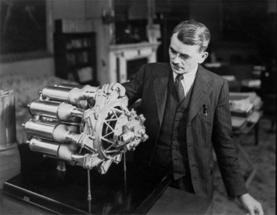 Frank Whittle with engine