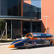 UK Automotive Open House 2017 BLOODHOUND SSC in front of the Renishaw Innovation Centre, New Mills