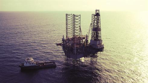 Bourbon offshore support vessel and oil rig