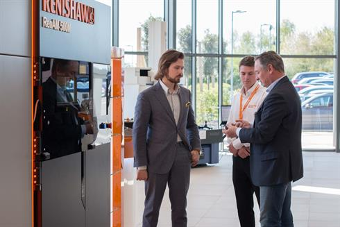 Michiel Holthinrichs with Philippe Reinders Folmer and Charlie Birkett of Renishaw at Renishaw Innovation Centre.