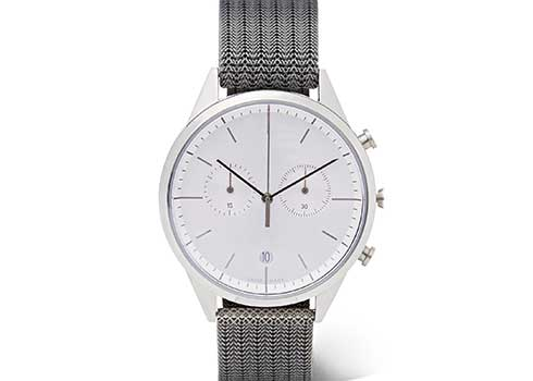 Uniform Wares M40 PreciDrive calendar watch in brushed steel with natural titanium bracelet