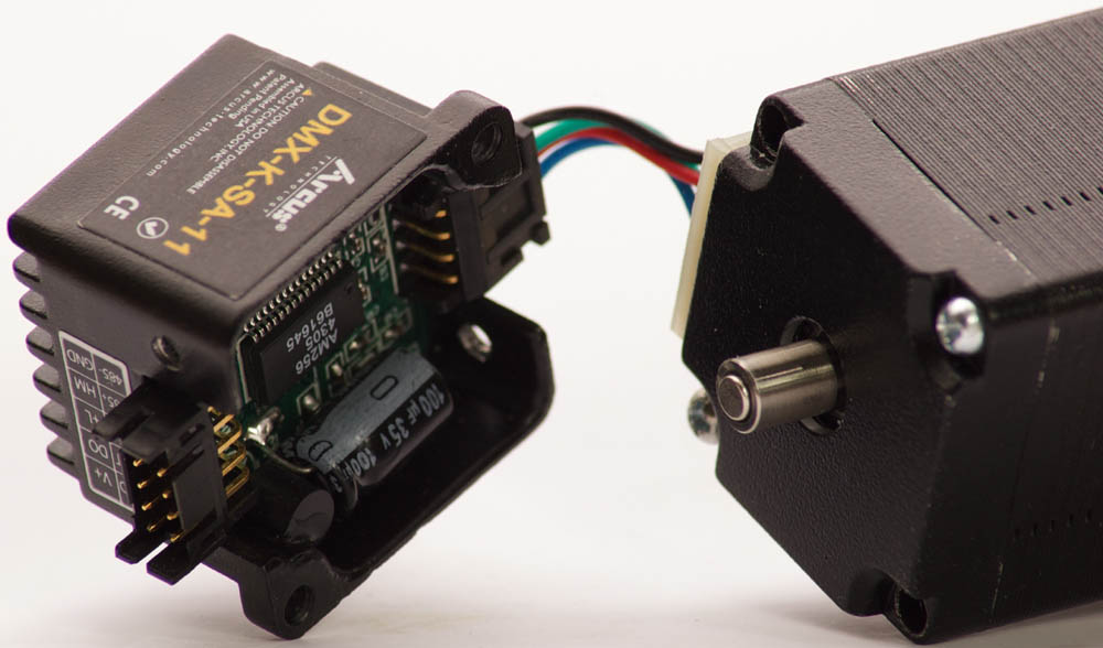 Microstep motor uses onaxis magnetic encoder chip for for Stepper motor position control