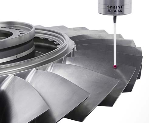 Contact scanning of blade freeform surfaces