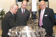 Sir David McMurtry and Ben Taylor show HRH The Earl of Wessex a demonstration of REVO measuring an aero-engine component