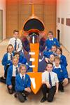 Primary School children around the Bloodhound SSC during a visit to Renishaw