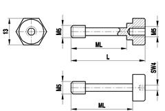 A-5555-0221 - M5 screw for cube and spherical disc, stainless steel, ML 26 mm, L 35 mm, for Zeiss applications [1]