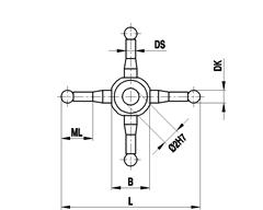 A-5555-0294 - M2 4-way star, Ø2 mm ruby ball, stainless steel stem, ML 9.5 mm, for Zeiss applications [1]
