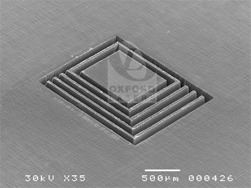 Laser micromilling of square channels